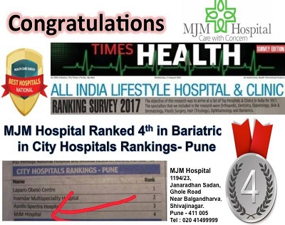 fourth position in Bariatrics in City Hospital Rankings